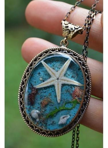 Stoneage Gerçek Deniz Yıldızı Büyük Boy Kolye Mavi